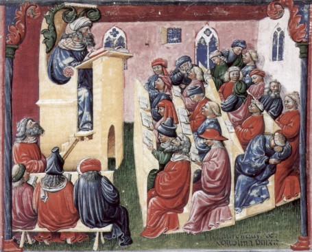 Henry of Germany lecturing at the University of Bologna, 14th century.